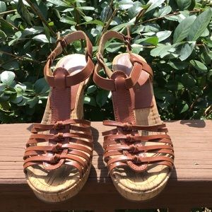 Audrey Brooke Leather Cork Wedges